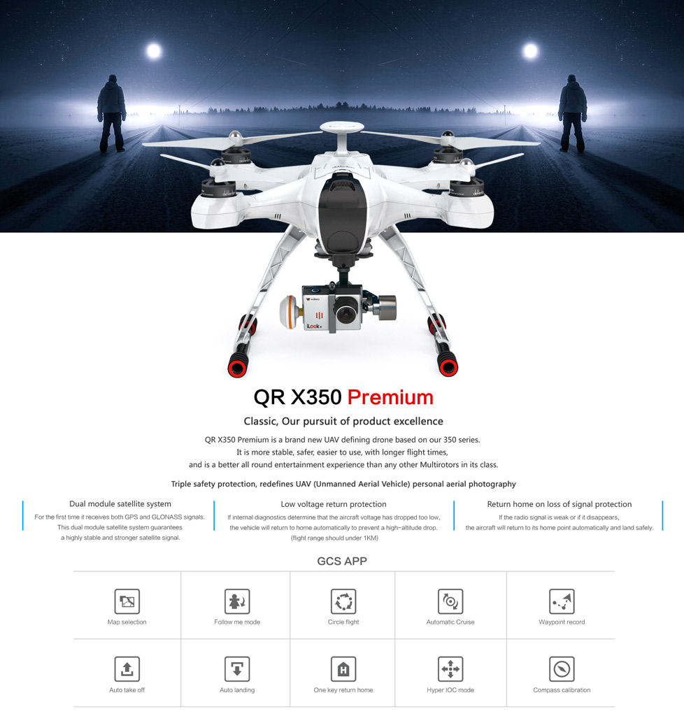 QR X350 Premium Dual – 1080P iLook+, 1080P Fisheye, Bluetooth, Devo F12E  radio,Battery,Charger,G-3D gimbal