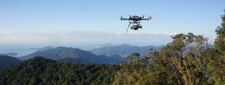 drone flying over amazon